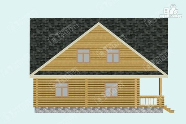 Фото 7: проект дом из бревна 10х11 с лоджией и широкой террасой