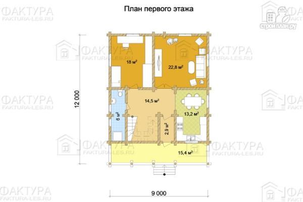 Фото 2: проект дом из бревна 9х12 с балконом и террасой