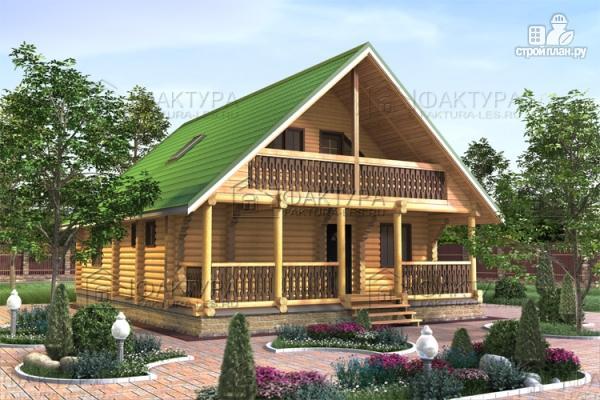 Фото: проект дом из бревна 9х12 с балконом и террасой