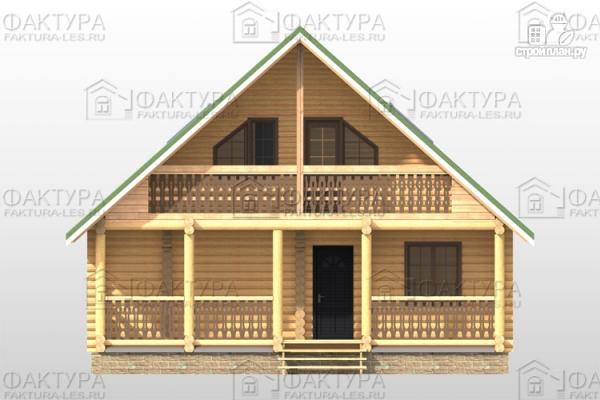 Фото 4: проект дом из бревна 9х12 с балконом и террасой