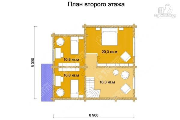 Фото 3: проект дом 9х9 из бревна 220 мм