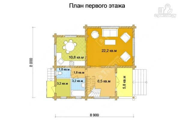Фото 2: проект дом 9х9 из бревна 220 мм