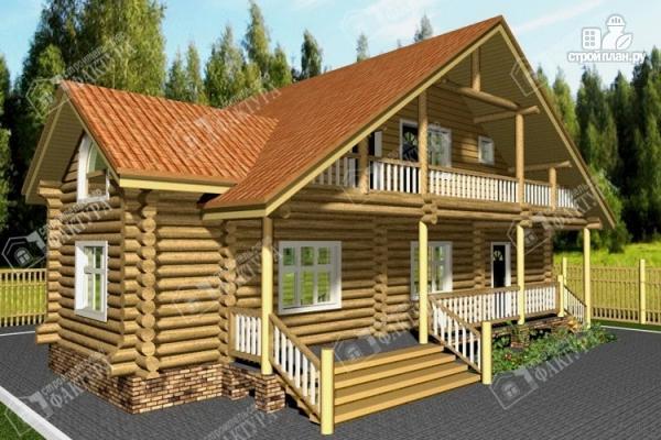 Фото: проект дом из бревна с крыльцом-верандой