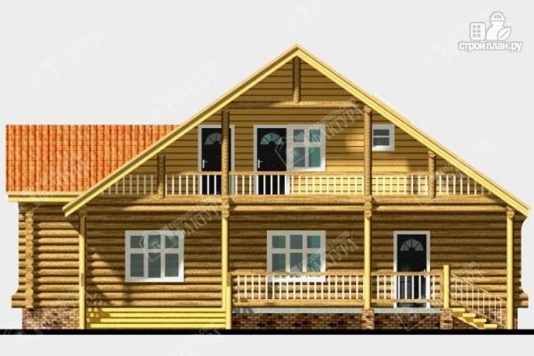 Фото 4: проект дом из бревна с крыльцом-верандой