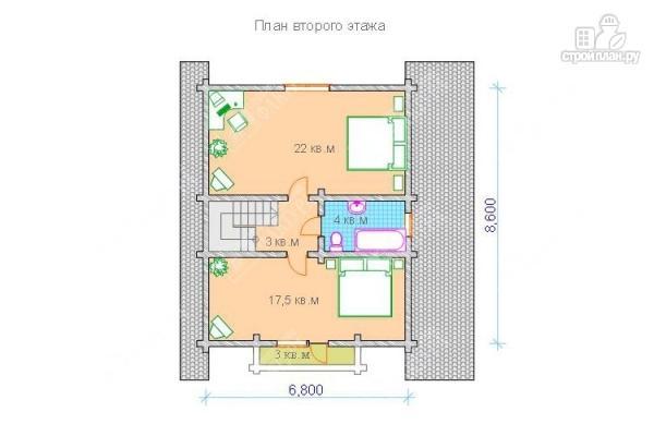 Фото 3: проект дом из бревна с мансардным этажом