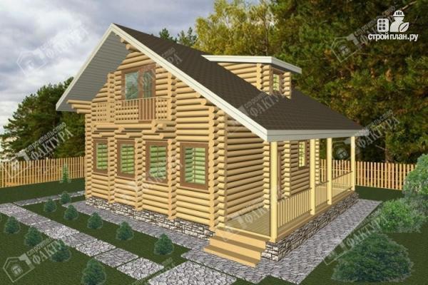 Фото: проект дом из бревна с мансардным этажом