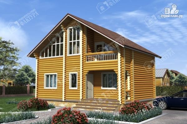 Фото: проект дом из бревна с красивым фасадом