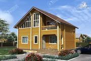 Проект дом из бревна с красивым фасадом