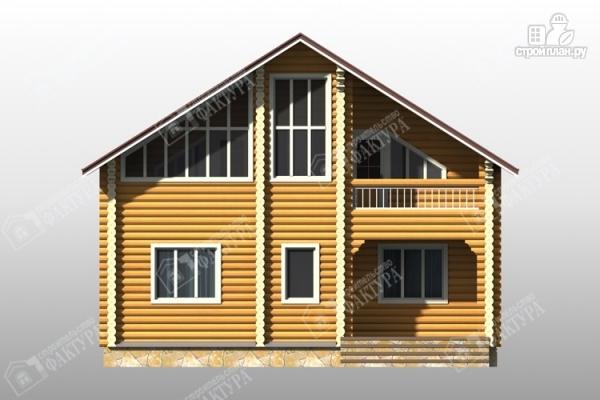 Фото 4: проект дом из бревна с красивым фасадом