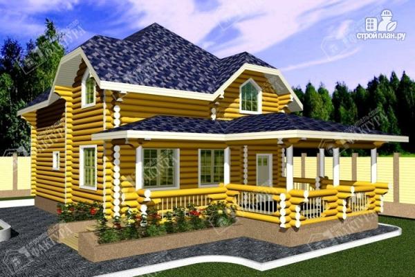 Фото: проект дом деревянный с большой террасой