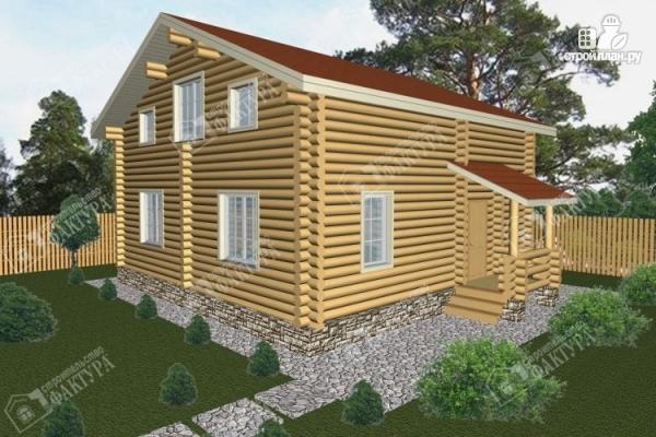 Фото: проект дом из бревна 9х10 с крыльцом