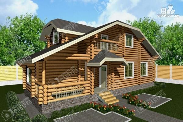 Фото: проект бревенчатый дом с мансардой