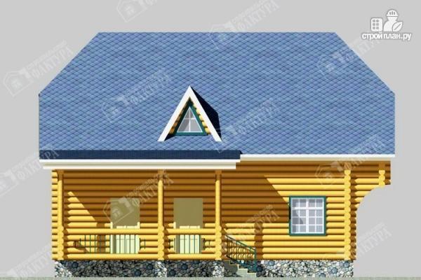 Фото 7: проект дом 10х10 из бревна с балконом