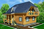 Проект дом 10х10 из бревна с балконом