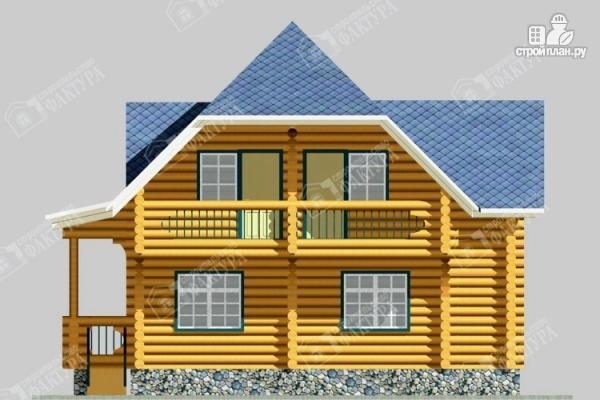 Фото 4: проект дом 10х10 из бревна с балконом