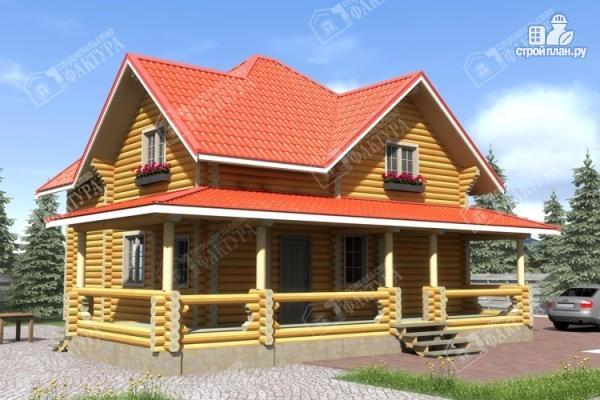 Фото: проект дом из бревна с широкой террасой