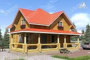 Фото: дом из бревна с широкой террасой