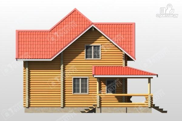 Фото 7: проект дом из бревна с широкой террасой