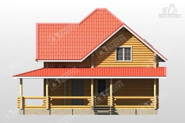 Фото 4: проект дом из бревна с широкой террасой