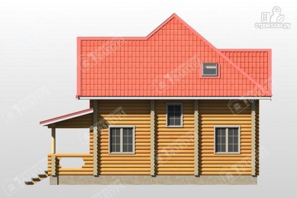 Фото 5: проект дом из бревна с широкой террасой