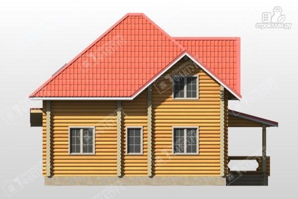 Фото 6: проект дом из бревна с широкой террасой