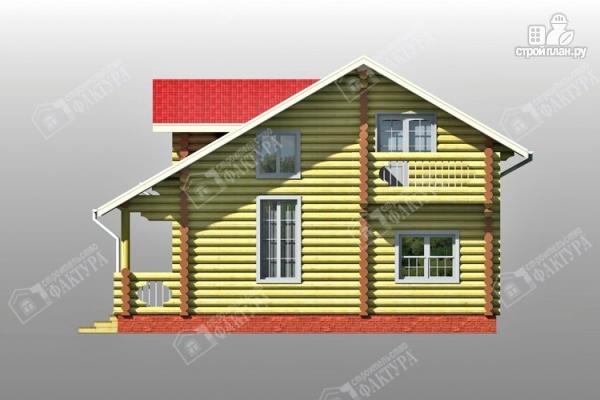 Фото 5: проект двухсветный дом из бревна с маленьким балконом