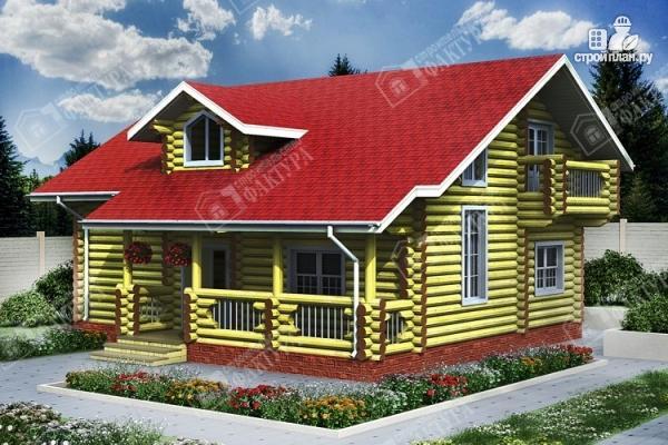 Фото: проект двухсветный дом из бревна с маленьким балконом