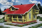 Фото: двухсветный дом из бревна с маленьким балконом
