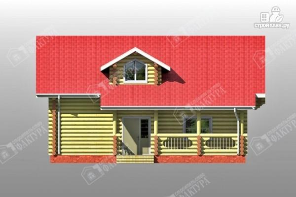 Фото 4: проект двухсветный дом из бревна с маленьким балконом