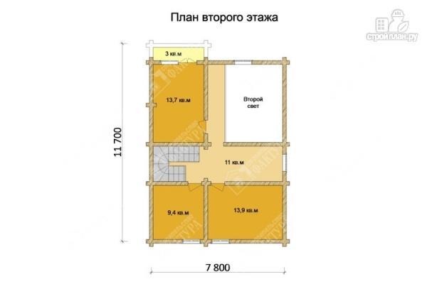 Фото 3: проект двухсветный дом из бревна с маленьким балконом