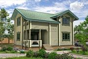 Фото: дом из бревна с мансардой