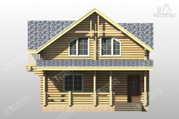 Фото 4: проект дом из бревна с террасой и балконом