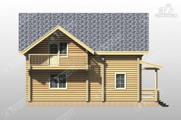 Фото 7: проект дом из бревна с террасой и балконом