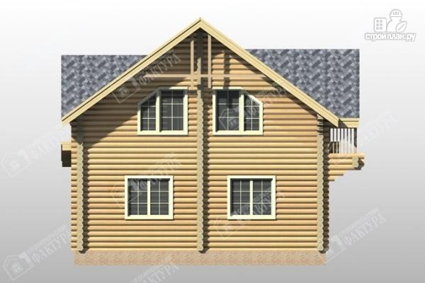 Фото 6: проект дом из бревна с террасой и балконом