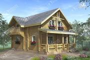 Фото: дом из бревна с террасой и балконом