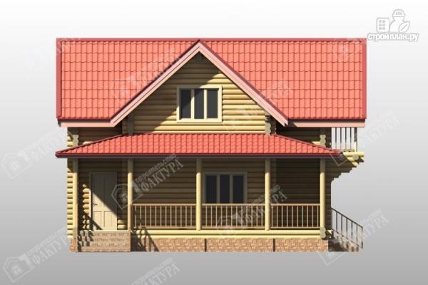 Фото 7: проект двухэтажный дом из бревна с террасой