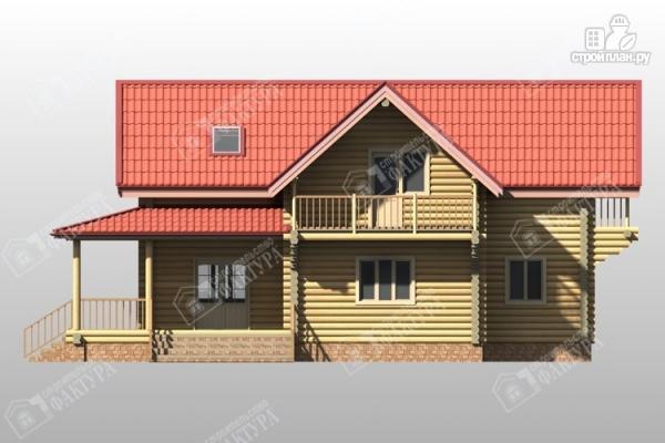 Фото 4: проект двухэтажный дом из бревна с террасой
