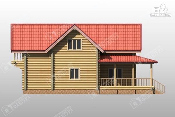 Фото 6: проект двухэтажный дом из бревна с террасой