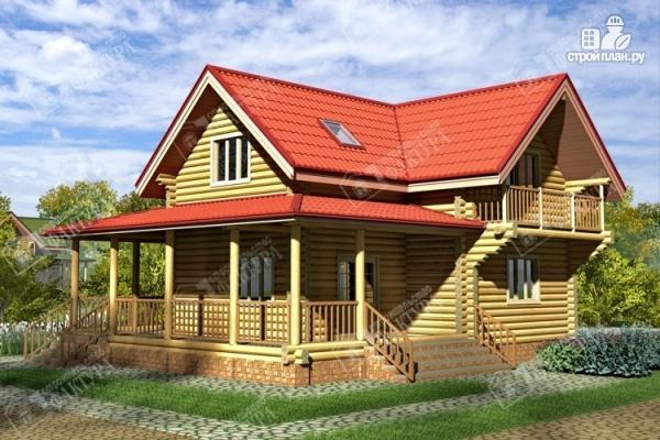 Фото: проект двухэтажный дом из бревна с террасой