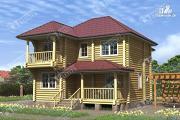 Фото: дом из бревна 9х11 с двумя балконами