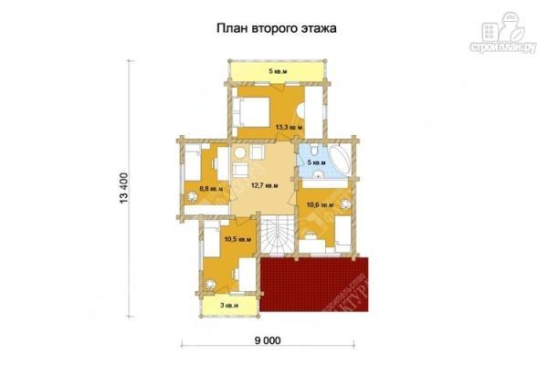Фото 3: проект дом из бревна 9х11 с двумя балконами