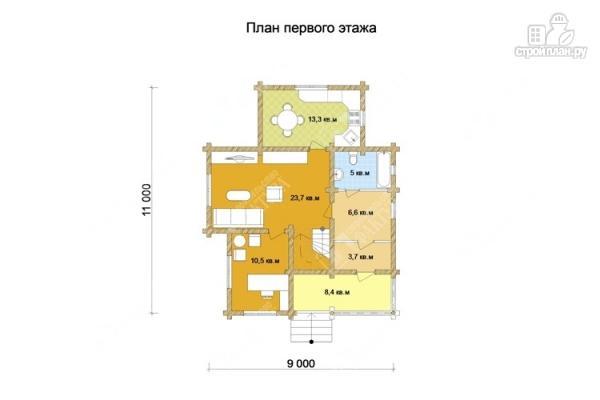 Фото 2: проект дом из бревна 9х11 с двумя балконами