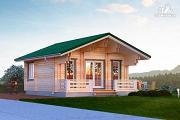 Проект дом из двойного бруса с террасой