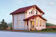 Проект дом из двойного бруса с верандой