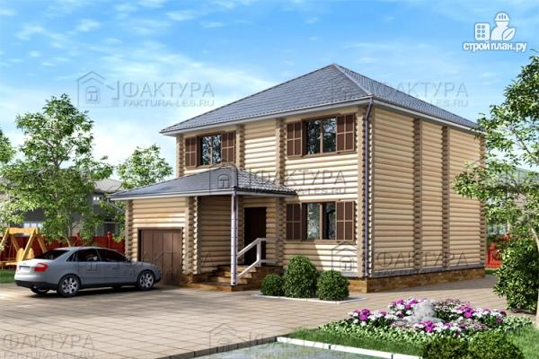 Фото: проект дом из бревна с гаражом
