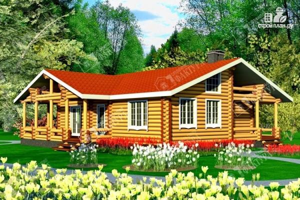 Фото: проект бревенчатый дом с двумя террасами