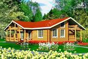 Проект бревенчатый дом с двумя террасами