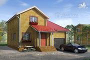 Фото: двухэтажный дом из бревна с гаражом