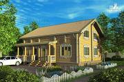 Проект дом из бревна с двухсветной гостиной