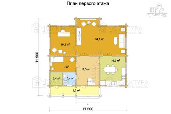 Фото 2: проект дом из бревна с двухсветной гостиной
